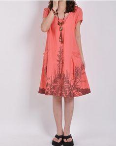 Watermelon linen dress maxi dress cotton dress casual loose cotton skirt linen blouse large size tops sundress summer dress plus size dress on Etsy, $53.60