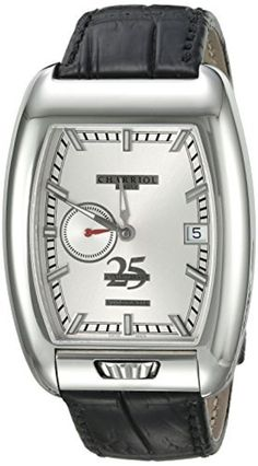 Charriol Men's 'MD52' Swiss Automatic Stainless Steel and Leather Dress Watch, Color:Black (Model: C25SS.791.006) by Charriol -- Awesome products selected by Anna Churchill