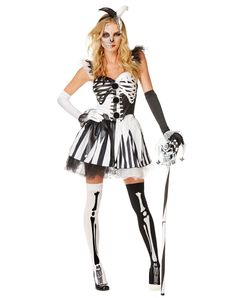 Skelequin Adult Womens Costume exclusively at Spirit Halloween - Shake them to the bone in the Skelequin Adult Women's Costume. If you want to be something a little traditionally scary, yet sexy this Halloween, this skeleton costume has it all. Features a black and white skeleton print dress, gloves, mismatched socks and a jester's headpiece. Get yours for Halloween for $49.99
