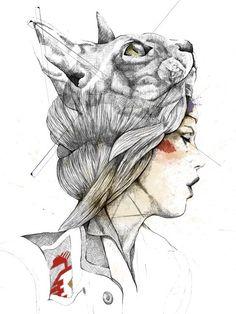 Bastet - Illustration by Nëss Cerciello, via Etsy.