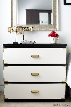 IKEA hack- Malm dresser turned campaign dresser with gold hardware accents. Ikea Decor, Diy Bedroom Decor, Diy Home Decor, Bedroom Hacks, Ikea Bedroom, Bedroom Dressers, Bedroom Furniture, Ikea Furniture Hacks, Furniture Makeover