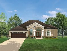 Mediterranean-Modern House Plan with 1807 Square Feet and 3 Bedrooms from Dream Home Source | House Plan Code DHSW076470