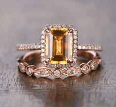 $689 Emerald Cut Citrine Engagement Ring Sets Pave Diamond Wedding 14K Rose Gold 6x8mm  Art Deco
