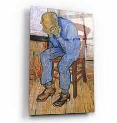 ・Vincent van Gogh's At Eternity's Gate (1890)・Glass Wall Art - 28.5 X 18