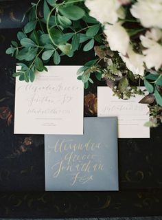 Photo: Rylee Hitchner; Color Inspiration: Slate and Dusty Blue Wedding Ideas - wedding invitation set