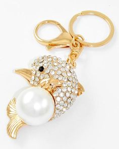 Gold Tone / Clear Rhinestone & White Synthetic Pearl / Lead Compliant / Fish / Key Chain