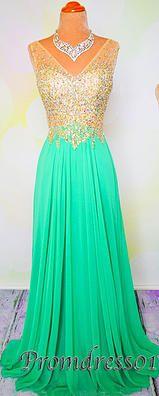 #promdress01 2015 cute sequins v-neck sparkly fresh green chiffon satin long prom dress for teens, ball gown, evening dress, homecoming dress #promdress