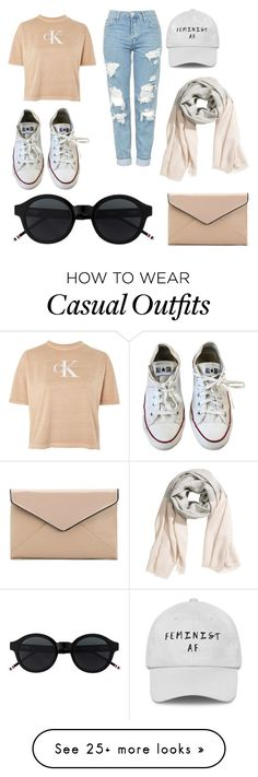 """nude casual"" by morganchambers68 on Polyvore featuring Calvin Klein, Converse and La Diva"