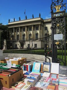 a book stall in front of the Humboldt University of Berlin