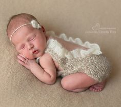 Newborn size romper with mohair lace