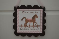 Horse Theme Happy Birthday Door Sign  Pink by SweetEPaperBoutique, $10.00