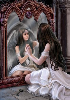Magic Mirror Angel Greeting Card Anne Stokes Angel Skull Pentacle Medieval Card Greeting Card