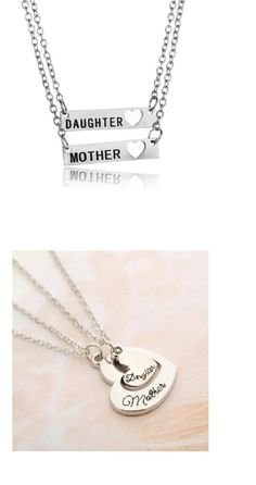 2pcs Mother Daughter Necklace Set Mom Friendship Hearts Silver Tone #Unbranded