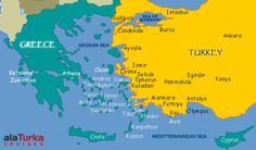 Tourist Map agean sea Turkey | and turkey shows the main tourist attractions in the region
