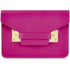 Sophie Hulme Nano Envelope Bag (£240) ❤ liked on Polyvore featuring bags, handbags, clutches, purses, accessories, pink, man bag, pink leather purse, pink purse and purple leather handbags