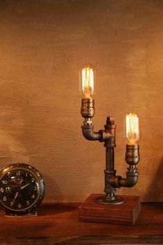 Industrial lighting, steampunk lighting, pipe lamp, edison lamp, table lamp