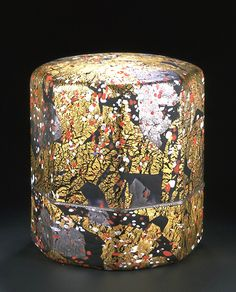 Glass Box with lid 'Kohakubai - Red & White Plum Blossoms' by Fujita Kyohei (b.1921)  Purple glass with silver & gold leaf with splashes of red & white glass .