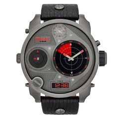 Een radar op het horloge! Zo laat het de secondes zien! DZ7297 de XL klok van Diesel! € 349,-
