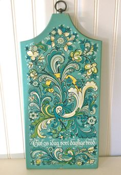 Reserved For Nanny...folk Art 1965 Berggren Trayner Wooden Plaque With Turquoise…