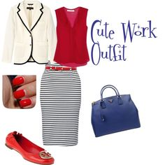 love the tight skirt but no to the red tory burch shoes