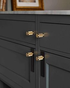 """456 Likes, 7 Comments - Buster + Punch (@busterandpunch) on Instagram: """"Spice up dark grey kitchen cabinets with our FURNITURE KNOBS / brass"""""""