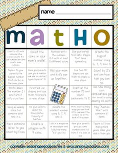 Math-O...math homework idea. Create board based on skills targeted in the previous month