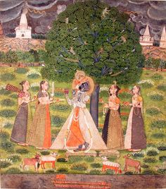 Lord Krishna plays the flute under a tree - ca. 1690 Edwin Binney 3rd Collection The San Diego Museum of Art