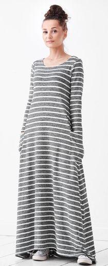 Electric трикотажное вискозное платье maxi в полоску для беременных