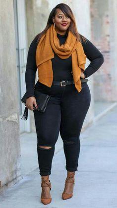43 Cute Plus Size Winter Fashion Ideas Femmes rondes Plus Size Winter Outfits, Outfits Plus Size, Curvy Girl Outfits, Plus Size Fall Outfit, Outfits Casual, Plus Size Fashion For Women, Curvy Women Fashion, Mode Outfits, Plus Size Women