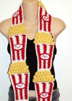 crochet food scarf | DIY Food Art Crochet Pattern 4 buttered popcorn by dianelangan