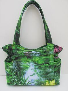 Medium Green Bag, Fall Winter Purse, Floral Womens Handbag, Quilted Handbag, Travel Bag Women, Designer Handbag, Fabric Purse, Diaper Bag by JustBeautiful161 on Etsy
