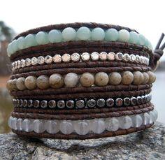 Gemstone Leather Wrap Bracelets – Amazonite, Quartz & Feldspar handmade by Onsra Designs $65