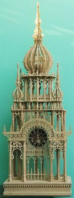 Imperial tower clock, scroll saw fretwork pattern