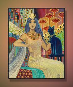 Bast Egyptian Cat Goddess Art Deco 8x10 Print