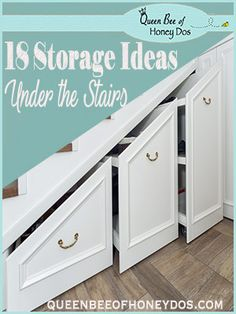Under stair storage space can be a premium location in a home. See these great ideas for how to utilize that space at Queen Bee of Honey DOs Staircase Storage, Stair Storage, Office Storage, Desk Organization, Staircase Design, Bookcase Shelves, Storage Shelves, Storage Spaces, Diy Understairs Storage