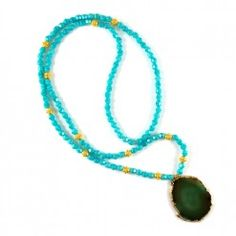 Bead & Gold Agate Necklace