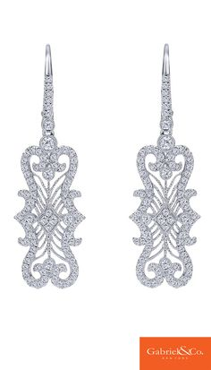 A stunning pair of 18k White Gold Diamond Drop Earrings from Gabriel & Co.