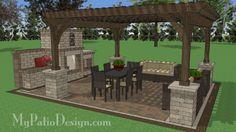 16' x 16' Cedar Pergola Design with Columns #1