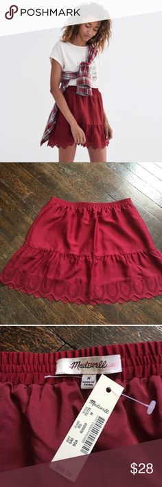 NWT Rust red ruffle Madewell skirt Adorable NWT perfect condition skirt. Too big for me! 🏹 Madewell Skirts Mini