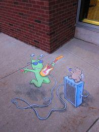 (link) 3D Chalk Street Art by David Zinn ~ Sluggo on the Street, Vol. 1   David Zinn ~ Sluggo & Philomena as Street Musicians ~ RoCk n ROLL!  ~~ Electric Guitar / Bass / Amplifier ~ for more great PINs w/good links visit @djohnisee ~ have fun!