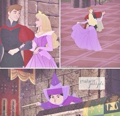 This was something I always wanted - Flora and Merryweather were fighting over blue and pink, but they could have mixed the colours and compromised with purple! AND it would have matched Aurora's eyes!!! I have literally been making this point to anyone who would listen since I first saw Sleeping Beauty at 5 years old.<<YES!