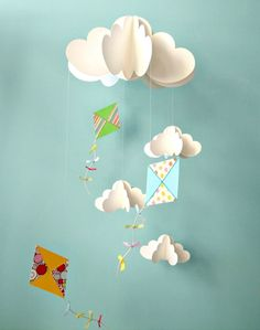 Creative DIy Ceiling Mobile With Cloud And Kite Design : Creative And Cute Ceiling Hanging Decorations for Baby Room Decor Ideas