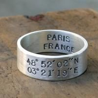 Latitude and Longitude wedding ring by Monkeys Always Look. I gave my guy cuff links with location of where he asked me to marry him and location of our wedding on them.
