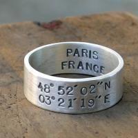Latitude and Longitude wedding ring by Monkeys Always Look