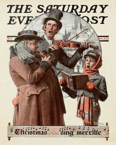 """Christmas Trio"" or ""Sing Merrille"" Saturday Evening Post Cover, December Giclee Print by Norman Rockwell Norman Rockwell Christmas, Norman Rockwell Art, Norman Rockwell Paintings, Christmas Carol, Vintage Christmas, Christmas Scenes, Christmas Print, Christmas Settings, Victorian Christmas"