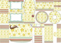 Estrellas Doradas y Rayas de Colores: Etiquetas para Candy Bar para Imprimir Gratis.
