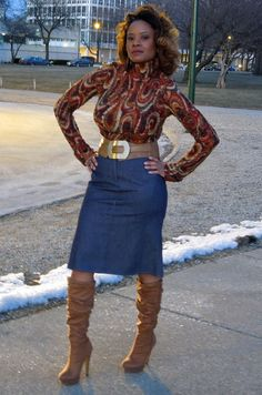 """Sweater and Denim Skirt, Platform High Heel Boots <3   """"if you like my curvy girl's fall/winter closet, make sure to check out my curvy girl's spring/summer closet.""""   http://pinterest.com/blessedmommyd/curvy-girls-springsummer-closet/pins/"""