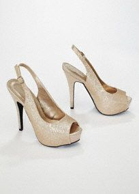 """Perfect for a special event or night on the town, this peep toe will add glitz and glamour to any outfit!   All over glitter detail gives this style sparkle and drama.  Sling-back is comfortable yet chic.  5"""" heel, 2"""" platform, leather insole. Imported."""