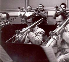 John Best is the trumpeter on far left then Conrad Gozzo and Maynard Ferguson on the right. Trbs (L to R): Milt Bernhart, Si Zentner, Tommy Pederson.