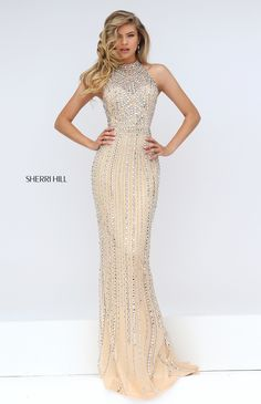 Sherri Hill Style 50248: Nude, Intricate Beading, Halter Neckline, Prom, Dress. Colors: fuchsia, ivory, light blue, nude, pink, silver, turquoise.